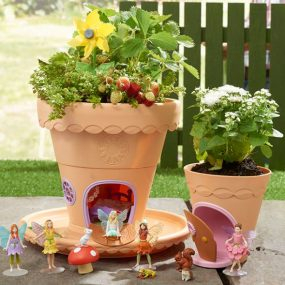 fairies and pots in the garden